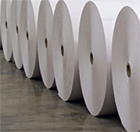 Paper rolls in mill floor